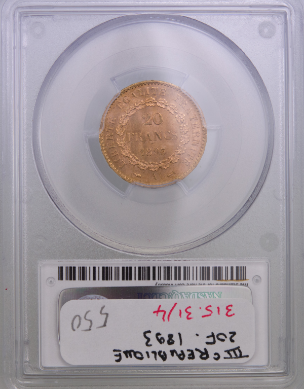 III République 20 Francs 1893 Paris PCGS MS64