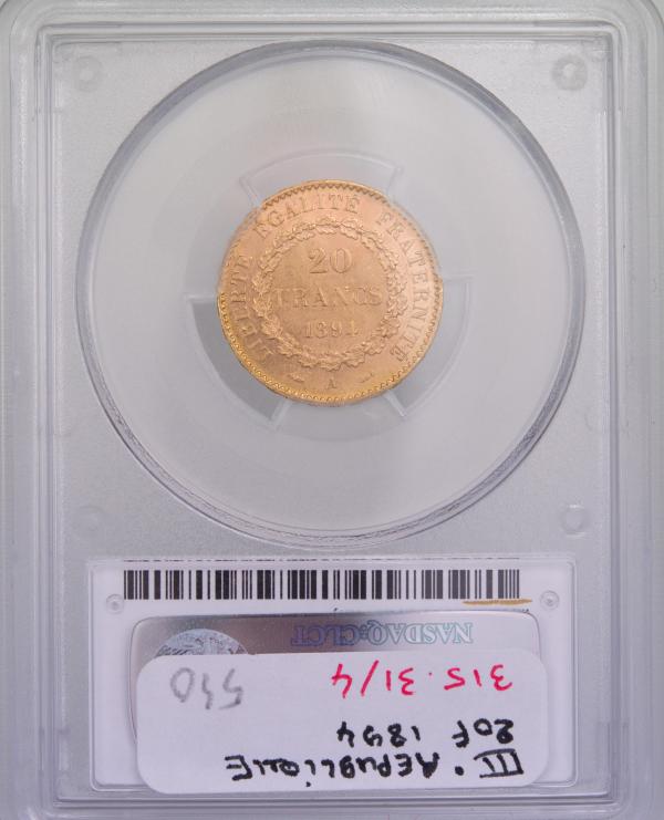 III République 20 Francs 1894 Paris PCGS MS63
