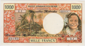 Nouvelles Hebrides 1000 francs type 1970