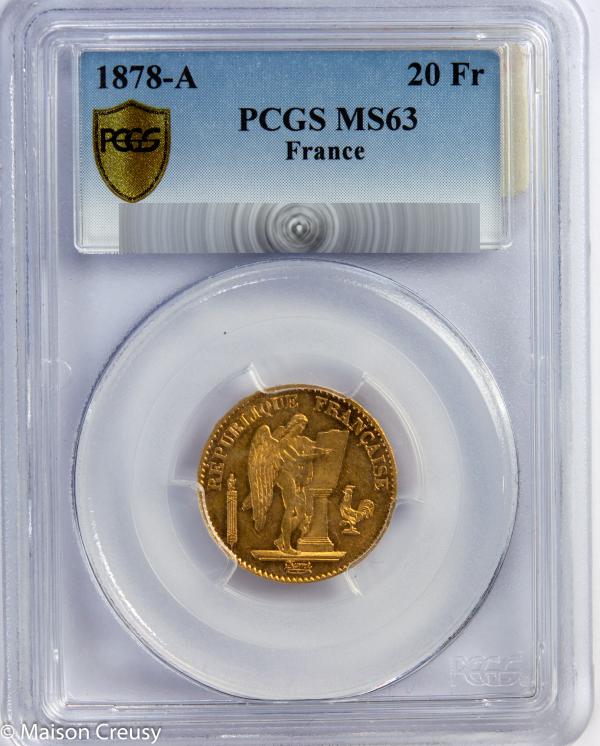 20 francs 1878 PCGS MS63