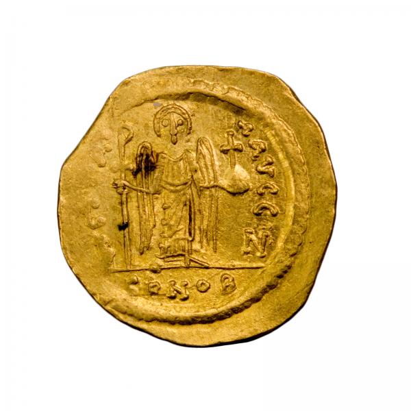 Maurice Tibère solidus frappé à Constantinople