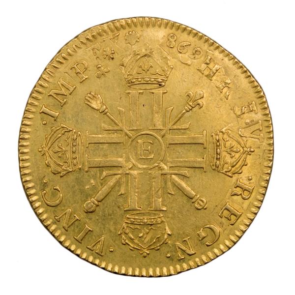 Louis XIV double louis aux 8L et aux insignes réformation 1701 Tours
