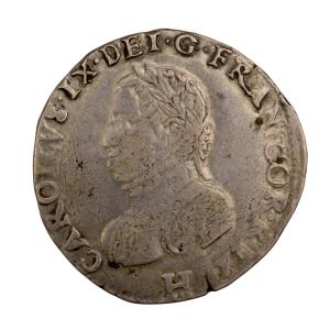 Charles IX teston 1575 La Rochelle