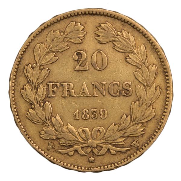 Louis Philippe 20 francs 1839 Lille