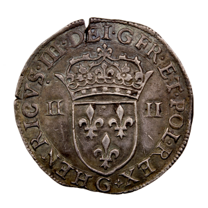 Henri III 1/4 écu de face 1588 Poitiers