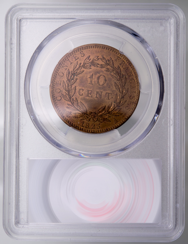Colonies francaise 10 centimes 1825 A PCGS MS63RB