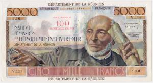 La Reunion 5000 francs surchargé 100 NF