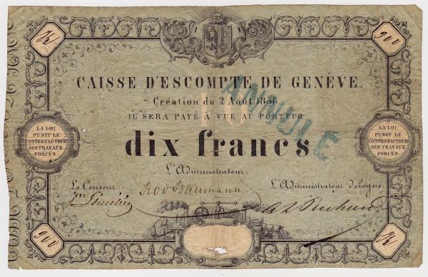 Caisse d'Escompte de Geneve 10 francs 2 aout 1856