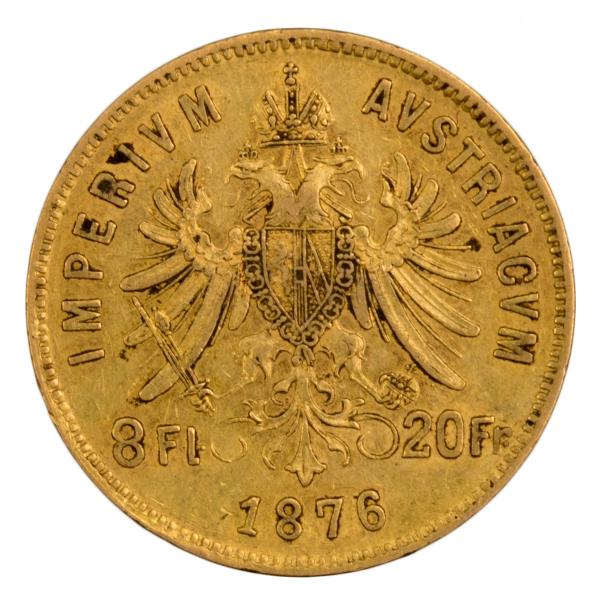 Autriche 8 florins 20 francs 1876