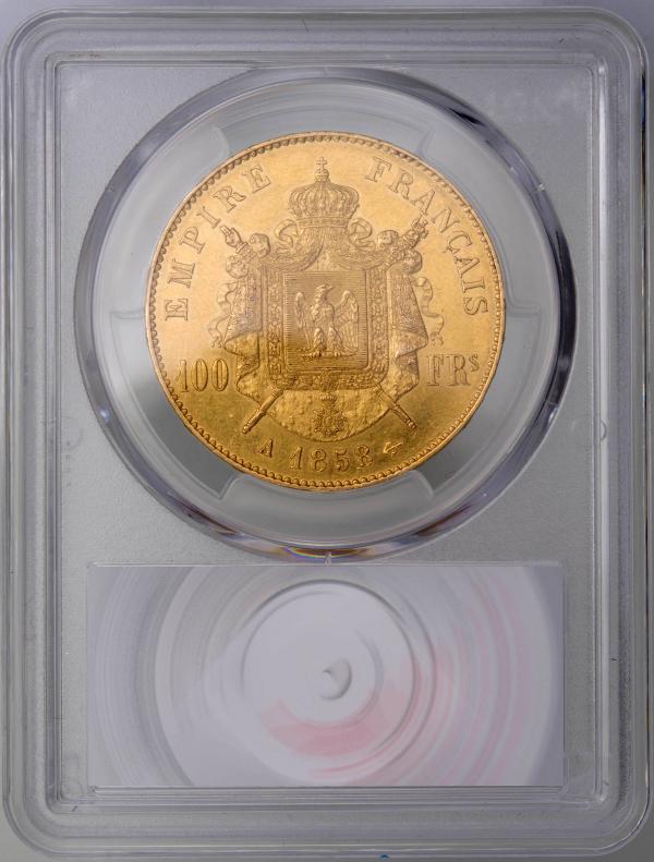 Napoleon III 100 francs 1858 Paris PCGS AU55