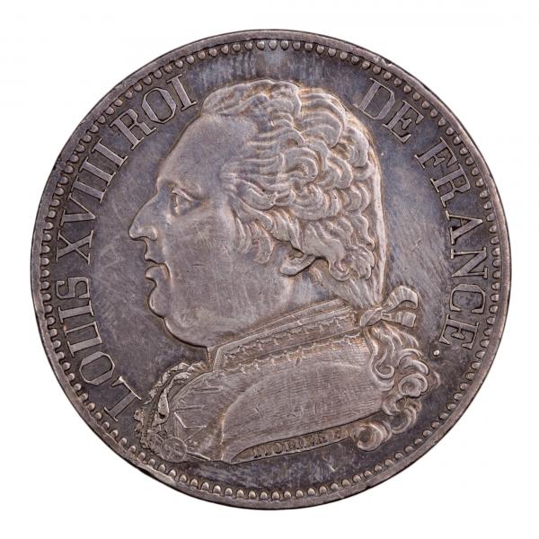 Louis XVIII module de 5 francs Visite de la monnaie de Marseille 4 octobre 1814