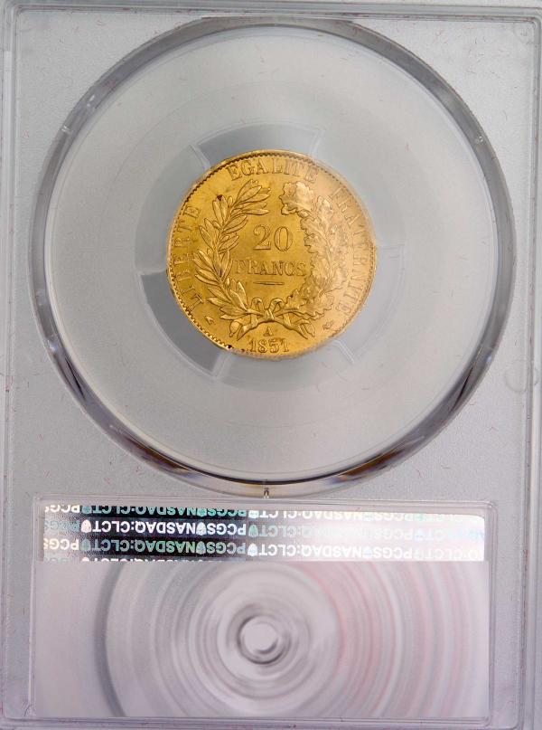 IIeme république 20 francs 1851 Paris MS64