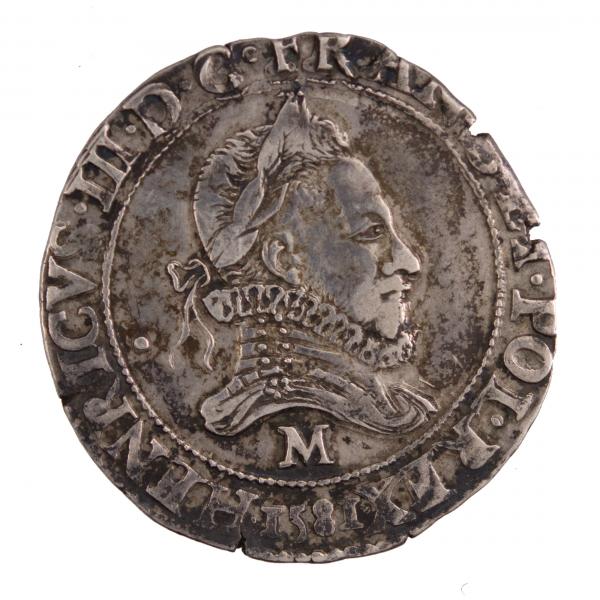 Henri III Franc au col avec fraise 1581 Toulouse