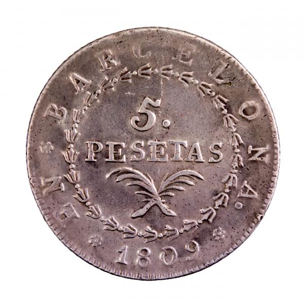 Espagne Barcelone Joseph Napoléon 5 Pesetas 1809