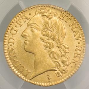 Louis XV louis au bandeau 1744 Lille PCGS MS62+
