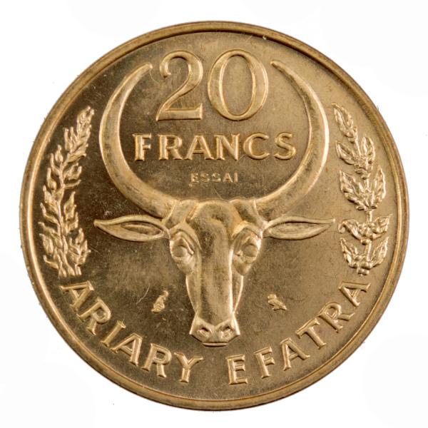 Madagascar 20 francs 1970 essai