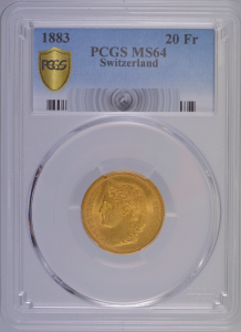 Suisse 20 francs 1883 PCGS MS64