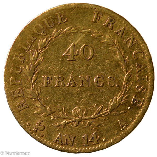 Napoleon 40 francs An 14 Paris