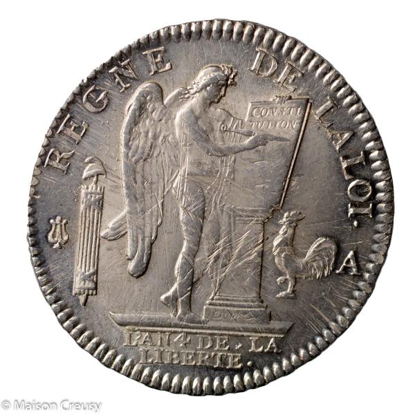 Constitution écu de 6 livres 1792 Paris