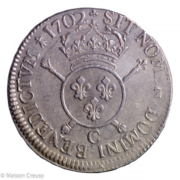 Louis XIV écu aux insignes 1702 Caen réformation