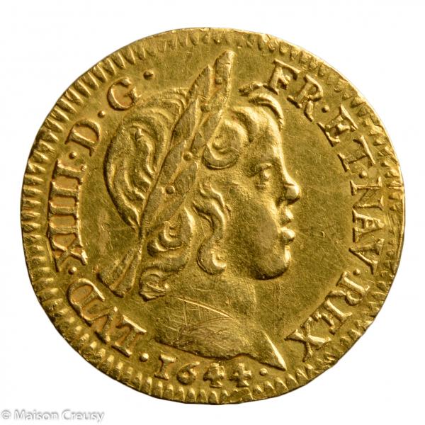 Louis XIV demi louis mèche courte 1644 Paris