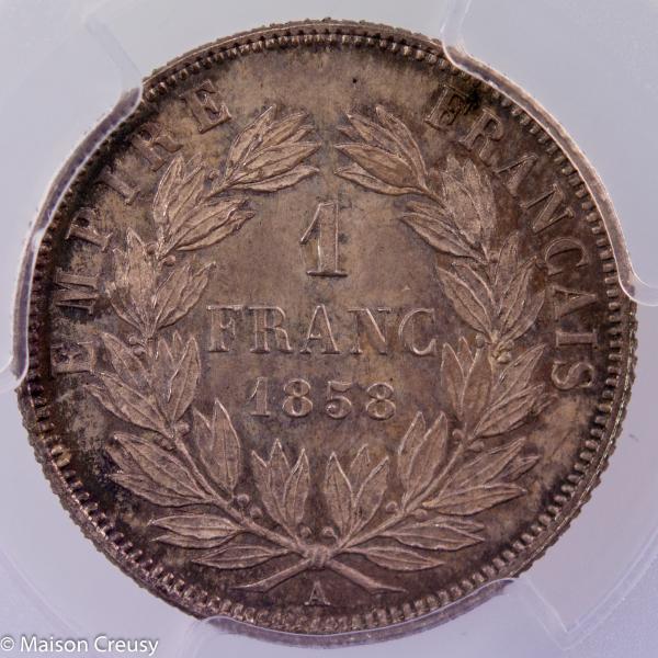 Napoleon III 1 franc 1858 Paris PCGS MS66