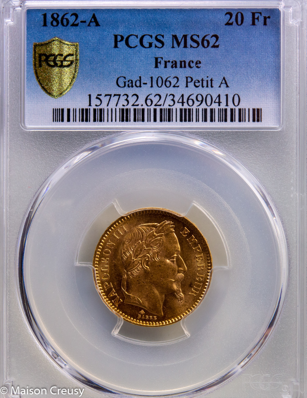 Napoleon III 20 francs 1862 Paris PCGS MS62