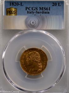 Italie Sardaigne 20 lire 1820 PCGS MS61