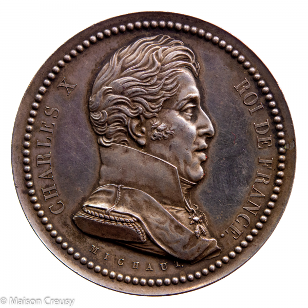 Charles X Médaille en argent des voeux des habitants de Versailles