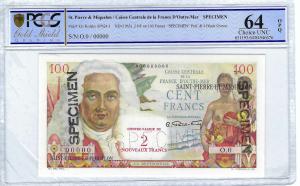 Saint Pierre et Miquelon 2 NF sur 100 francs SPECIMEN PCGS 64