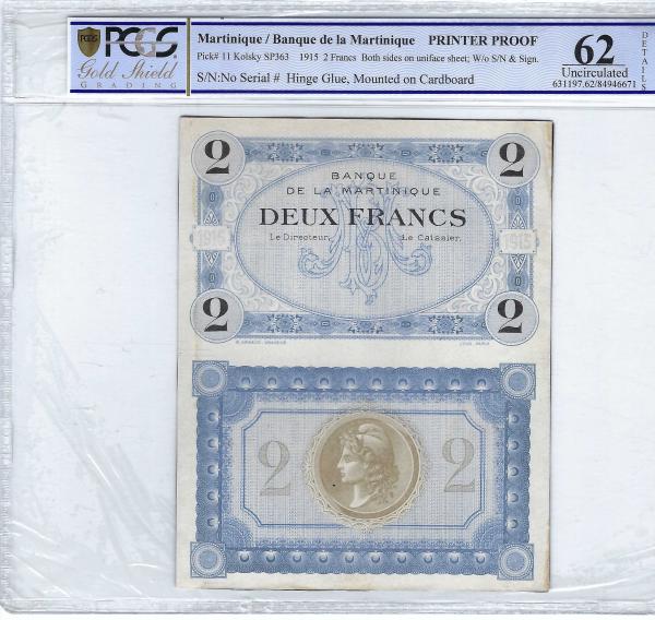 Martinique 2 francs 1915 Printer Proof PCGS 62 Details