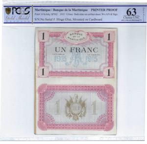 Martinique 1 franc 1915 PRINTER PROOF PCGS 63 details