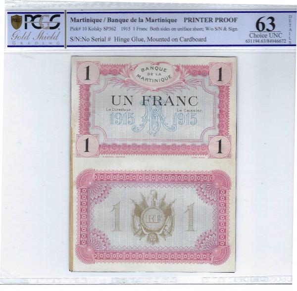 Martinique 1 franc 1915 PRINTER PROOF PCGS 63 details