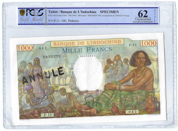 Tahiti banque d'Indochine 1000 francs SPECIMEN ANNULE PCGS 62