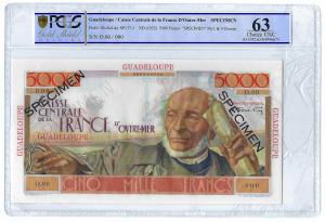 Guadeloupe 5000 francs SPECIMEN PCGS 63