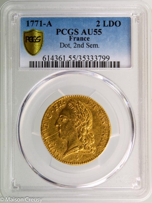 Louis XV double louis à la vieille tête 1771 Paris PCGS AU55