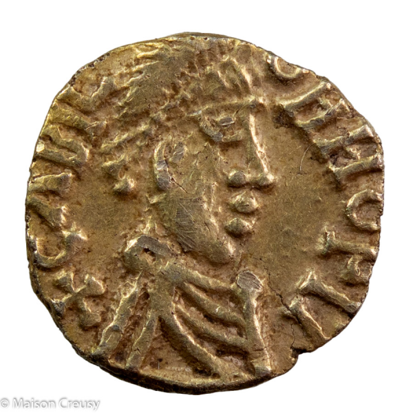 Merovingians Chalon-sur-Saône Circa 600-642 AV Tremissis