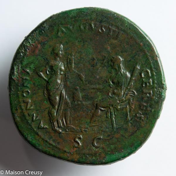 Neron Sesterce frappé à Lyon en 65