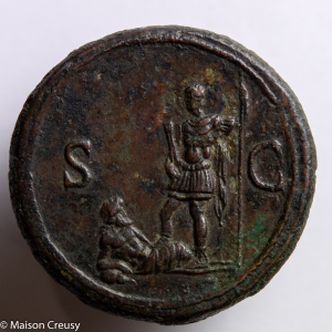 Domitian AE Sestertius reverse river god Rhenus