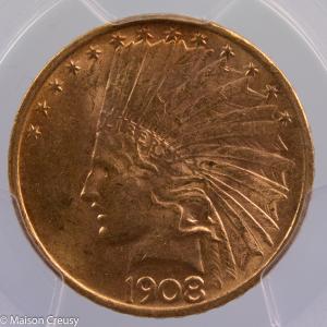 USA 10 dollars 1908 No Motto PCGS MS62