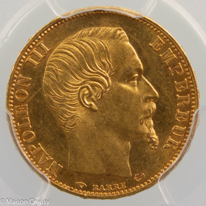 Napoleon III 20 francs 1858 Paris PCGS MS63