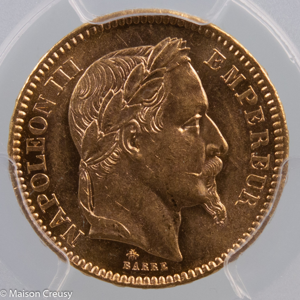 Napoleon III 20 francs 1862 Paris PCGS MS63